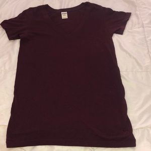 PINK Victoria's Secret Tops - PINK Victoria's Secret V-neck maroon t shirt